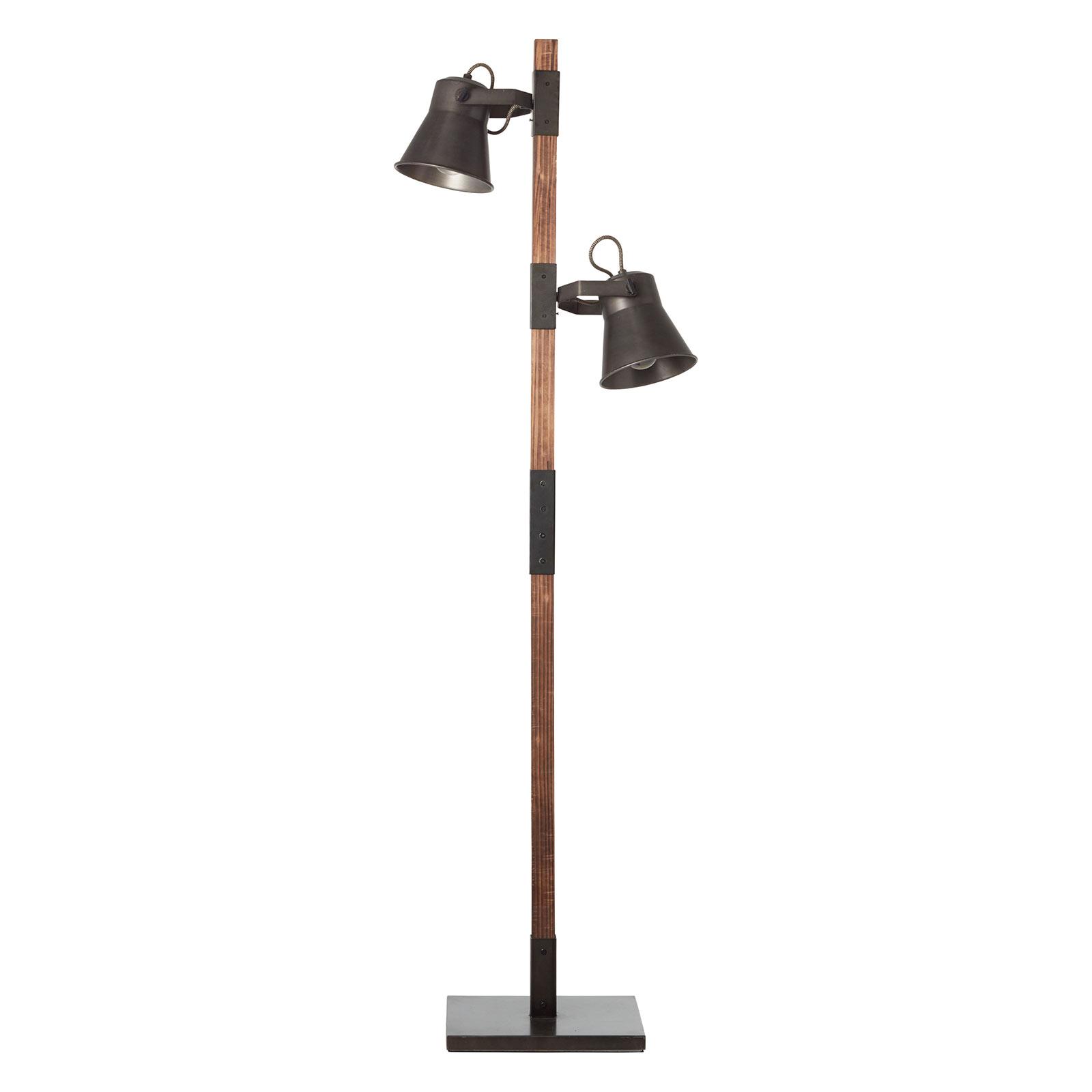 Lampadaire Plow avec 2 spots, noir/bois foncé