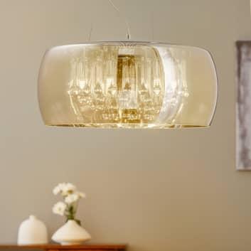 LED závěsné světlo Argos s křišťál. kapkami Ø 50cm