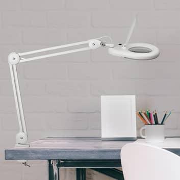 Lámpara con lupa LED MAULviso con pinza
