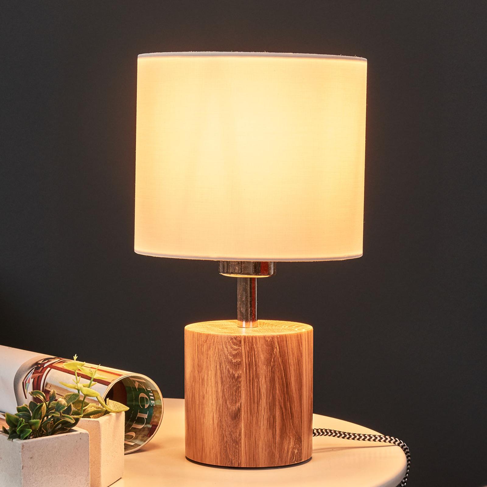 Lampe à poser ronde bois Trongo câble noir-blanc