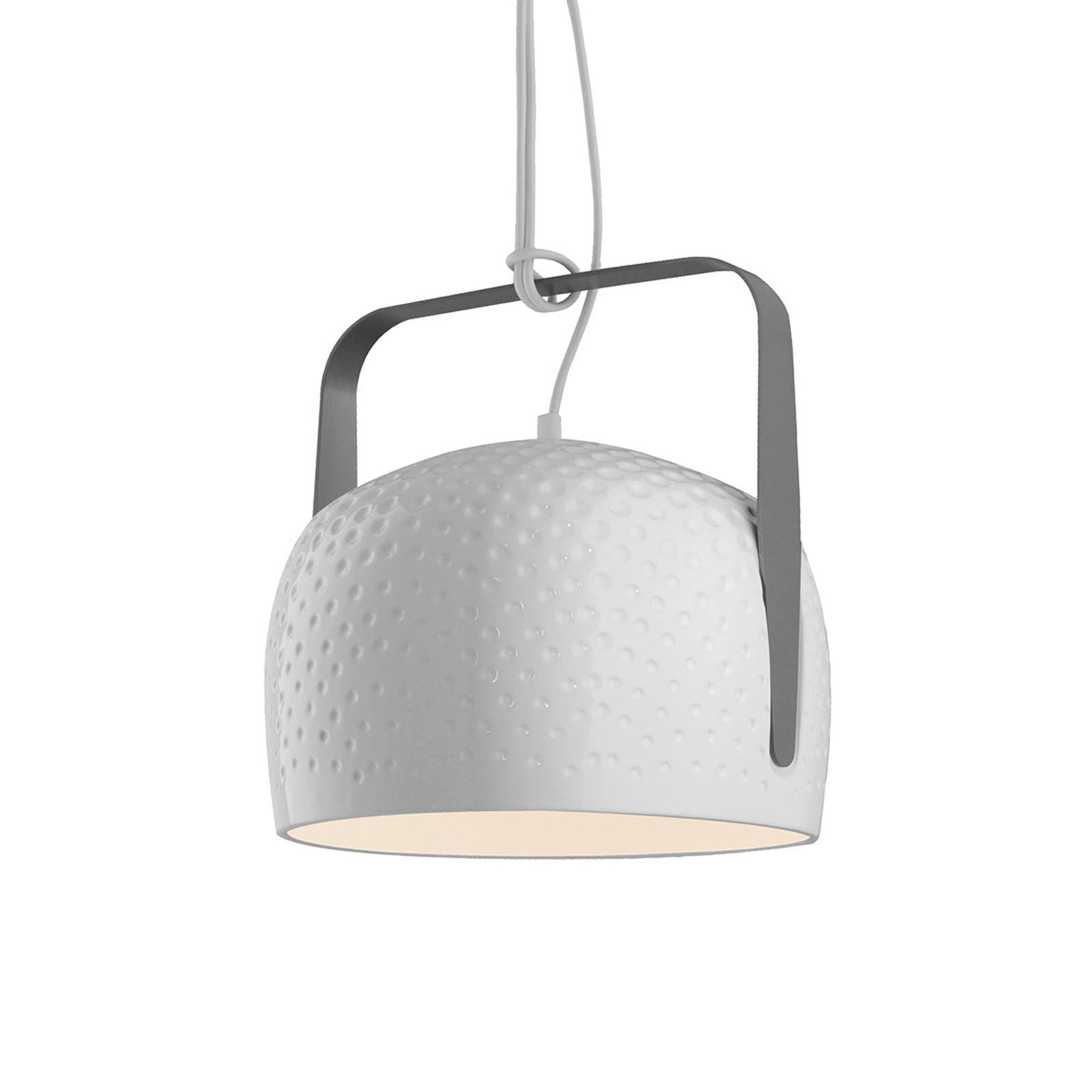 Karman Bag - biała lampa wisząca 21 cm struktura