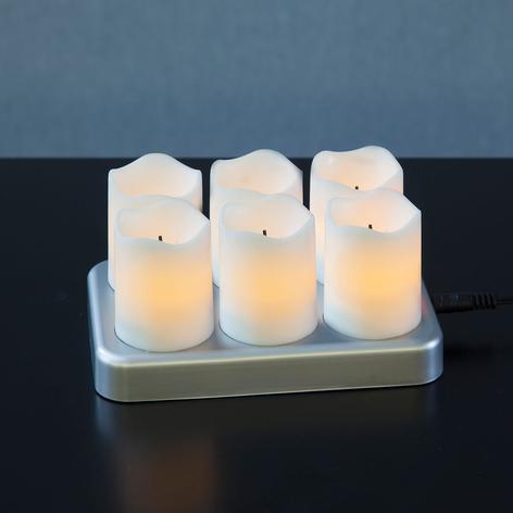 Oppladbart LED-telys Chargeme 6 stykker