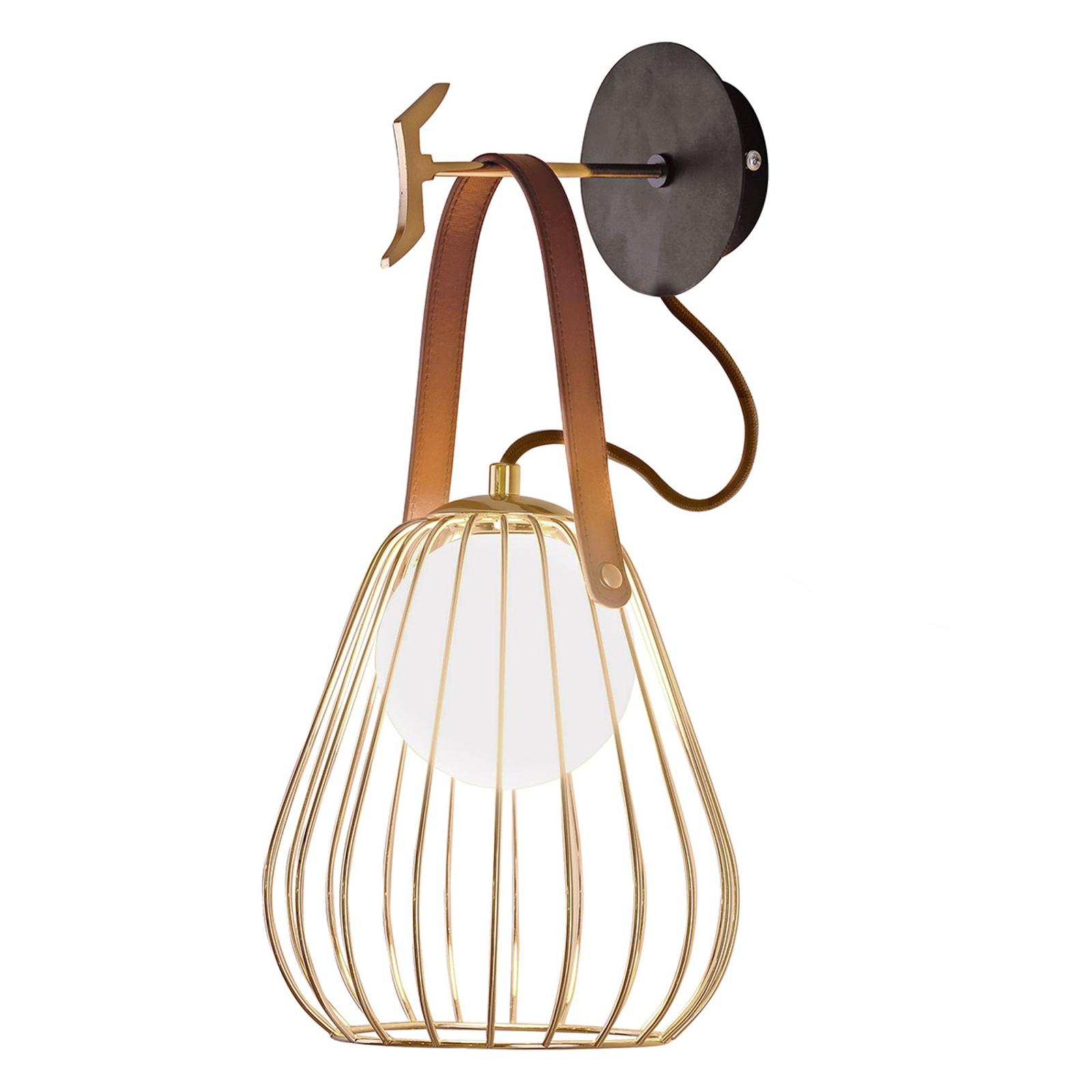 Lampa ścienna Levik ze złotą klatką