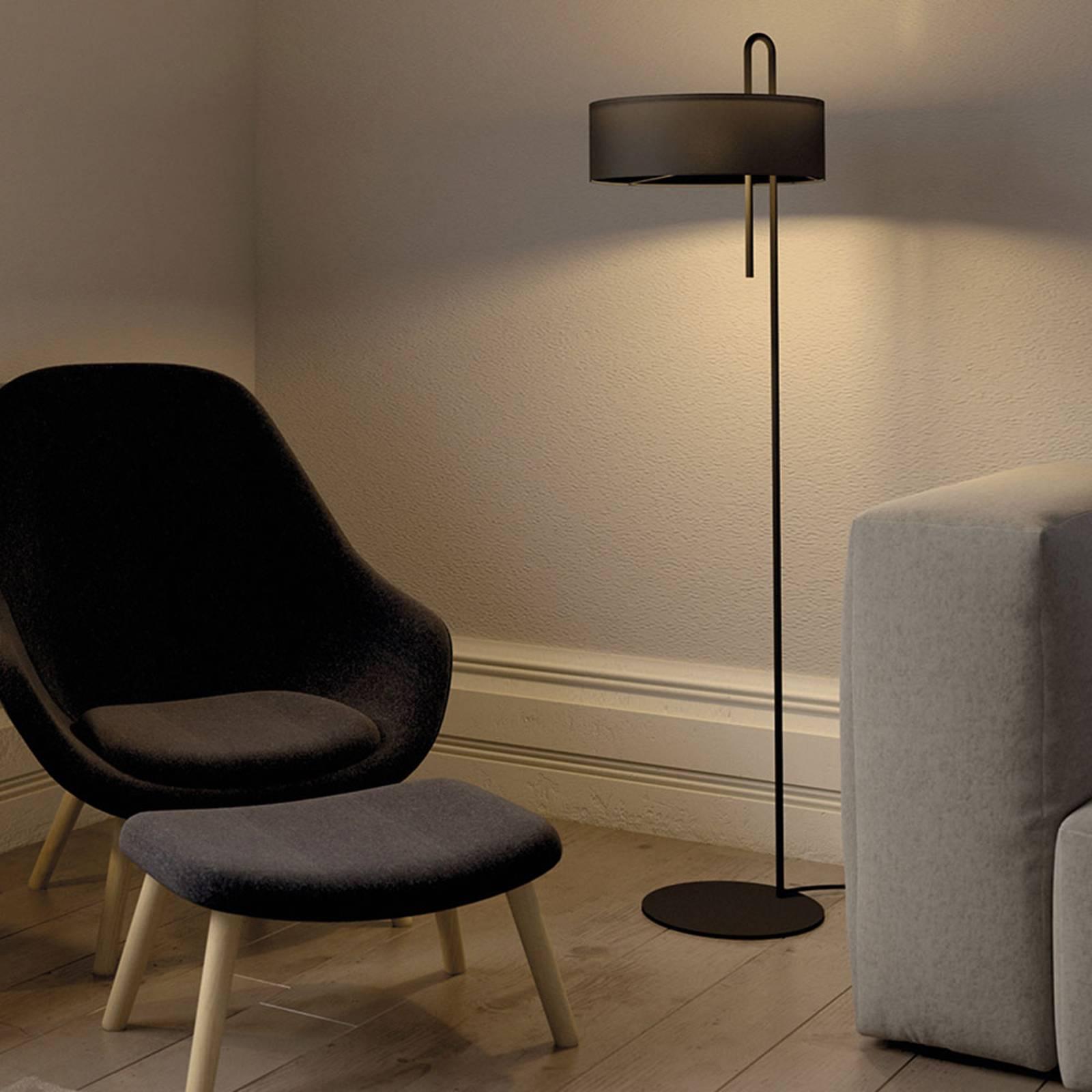 Lampadaire en tissu Clip, noir, hauteur 150cm