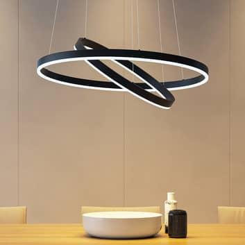 Arcchio Albiona LED-Hängeleuchte, schwarz, 2 Ringe