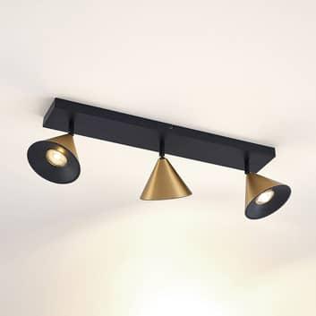 Lucande Kartio -kattovalaisin, 3-lamp., messinki