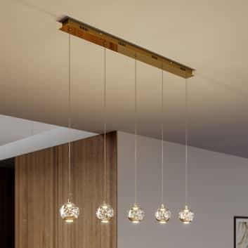 LED-pendellampa Hayley, 5 lampor, avlång, guld