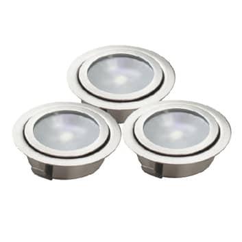 Foco de suelo LED empotrado LUXA, set 3 unidades