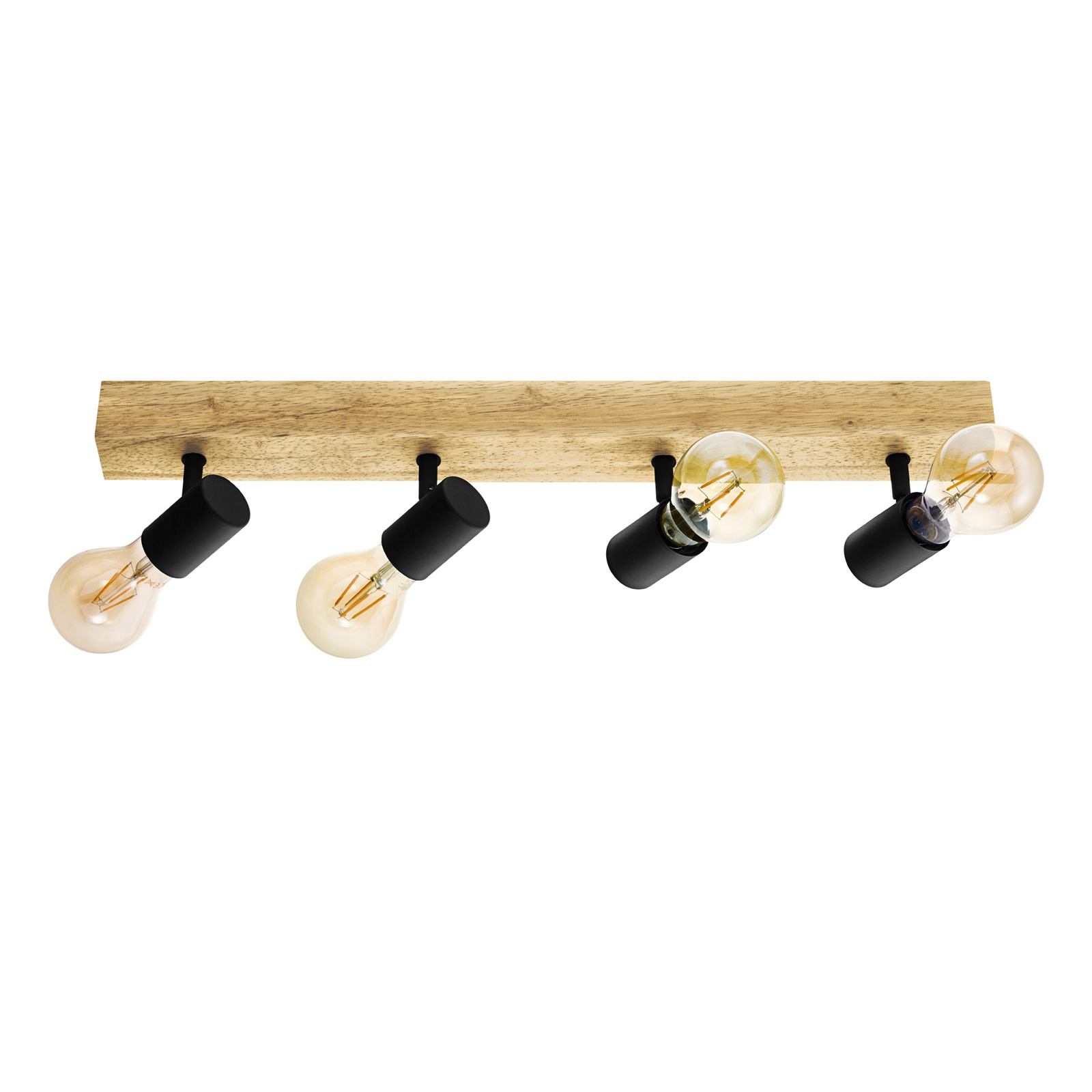 Plafondlamp Townshend 3 van hout, 4-lamps