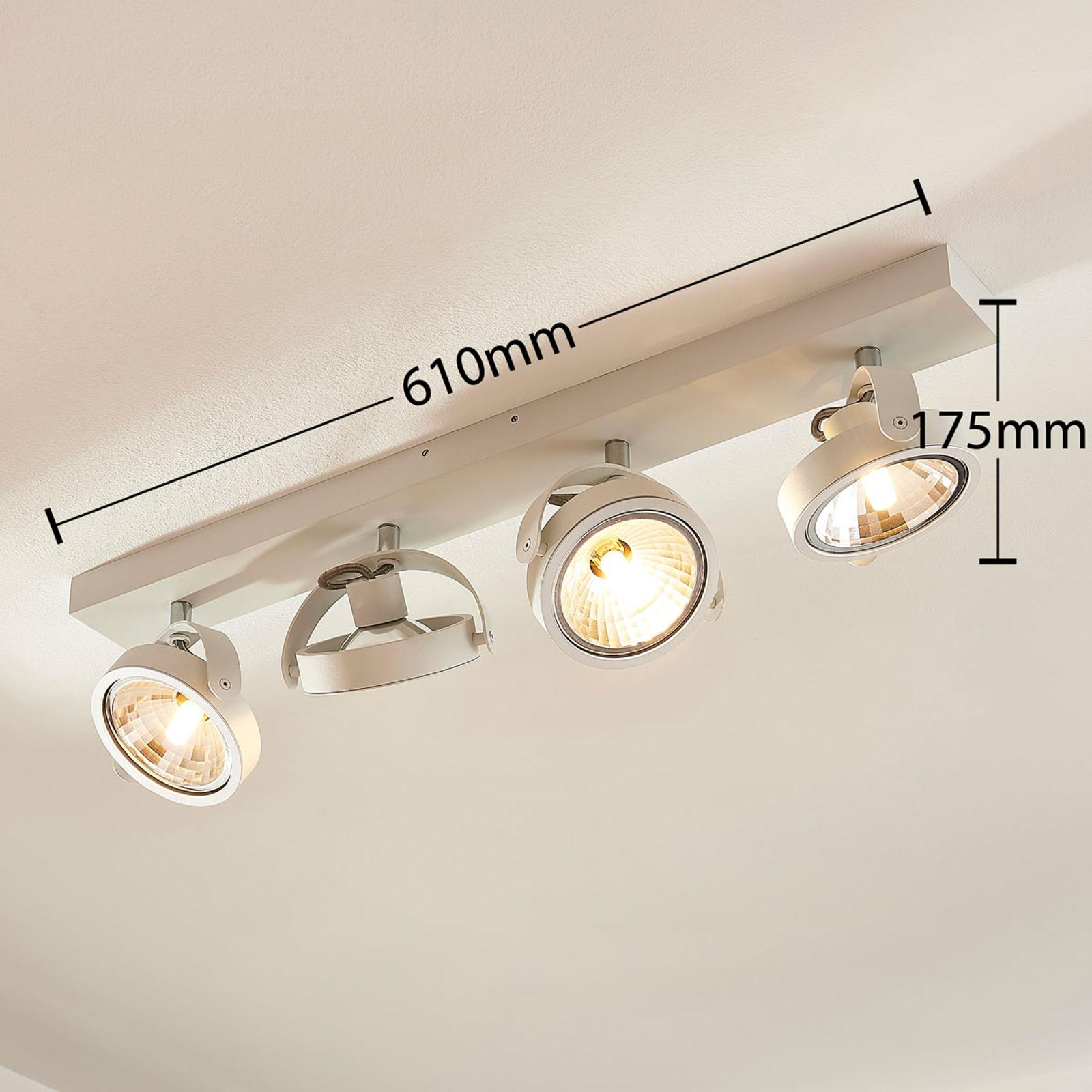 Längliche LED Deckenlampe Lieven, 4 fl. weiß
