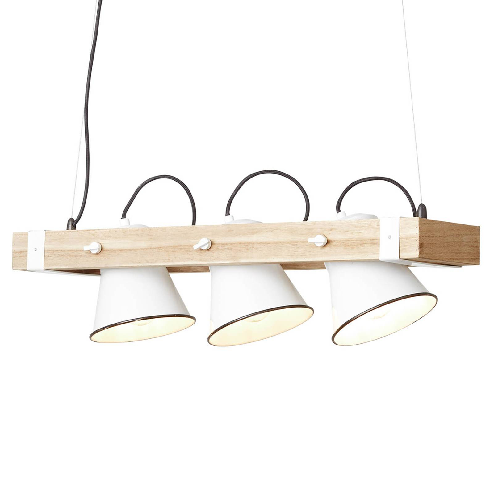 Lampa wisząca Plow 3-pkt. biała jasne drewno