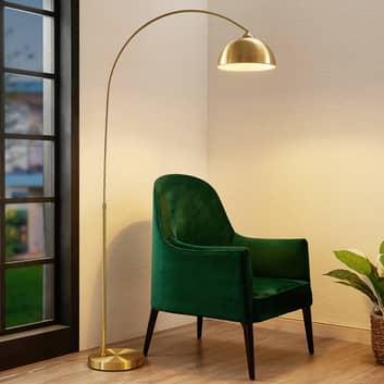 Lindby Lennart lampa podłogowa, mosiężna matowa