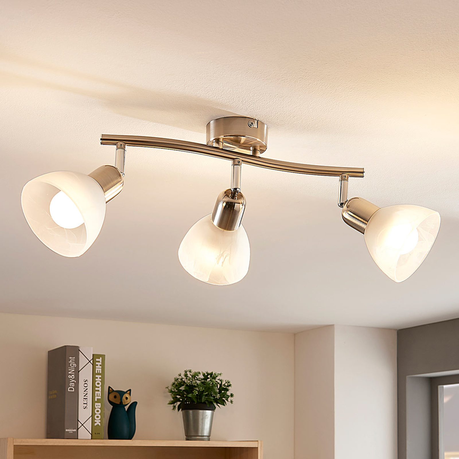 Lindby Paulina plafonnier LED à 3 lampes, allongé