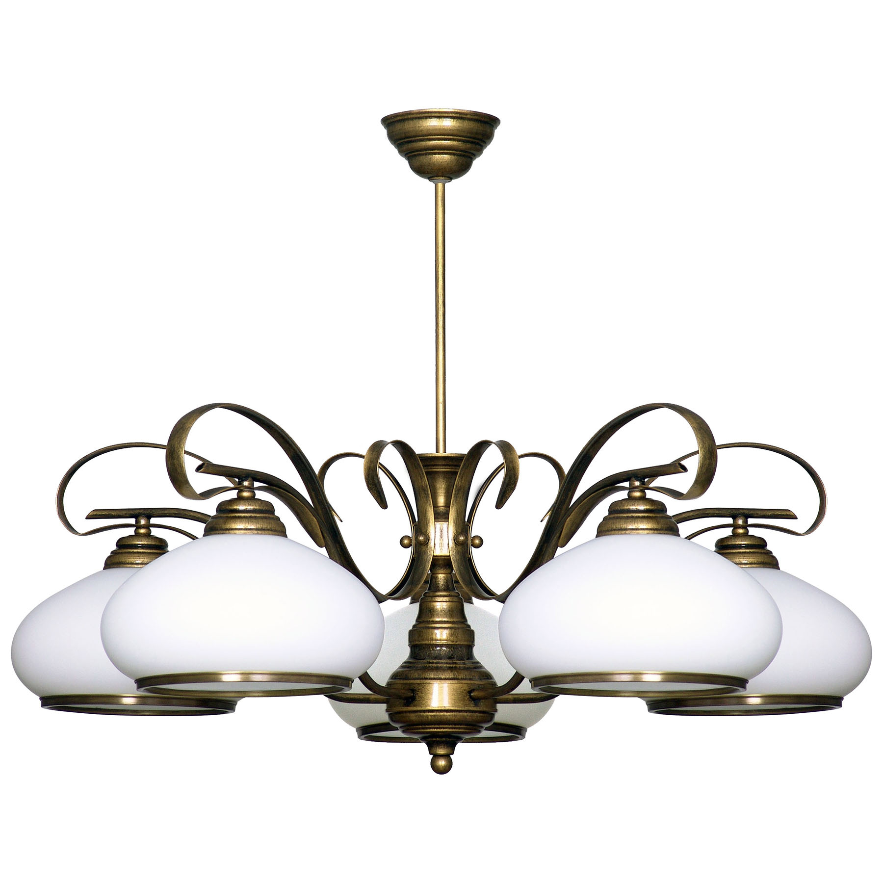 Suspension 493, verre opale/doré ancien, 5 lampes