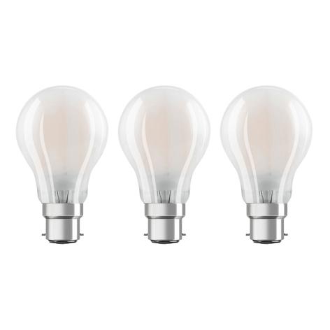 OSRAM LED-Lampe B22d Classic 827 7W 3er-Pack matt