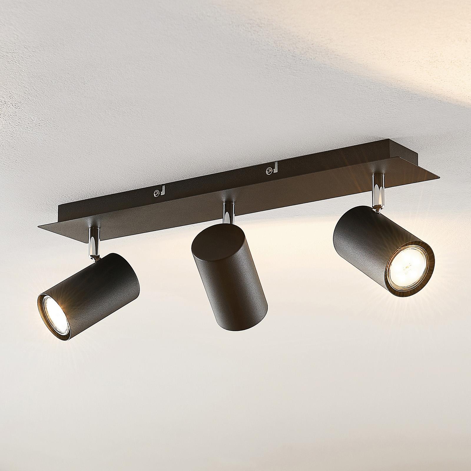 Lindby Joffrey spot pour plafond, 3 lampes, noir