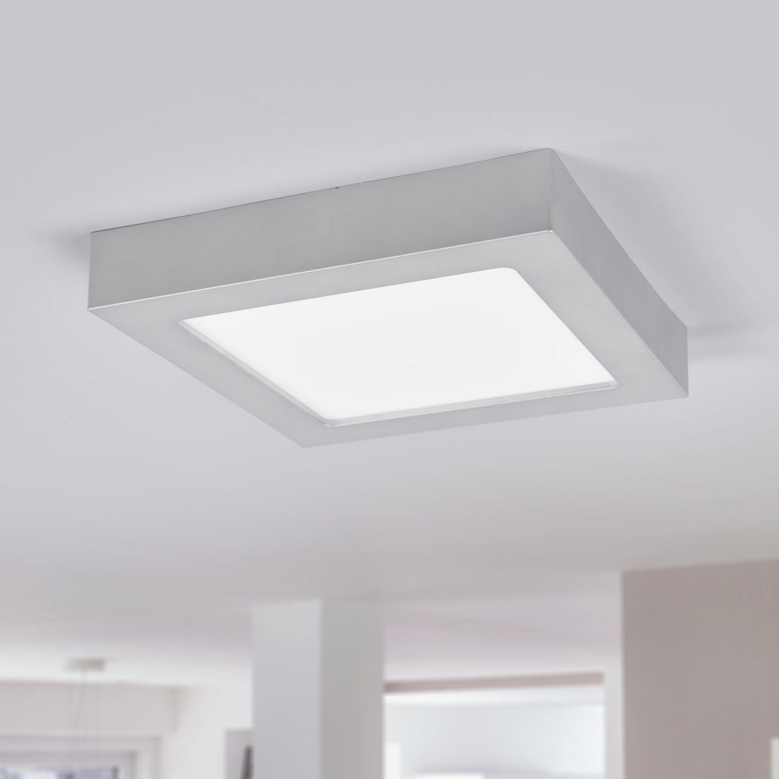 LED-Deckenlampe Marlo silber 3000K eckig 23,1cm