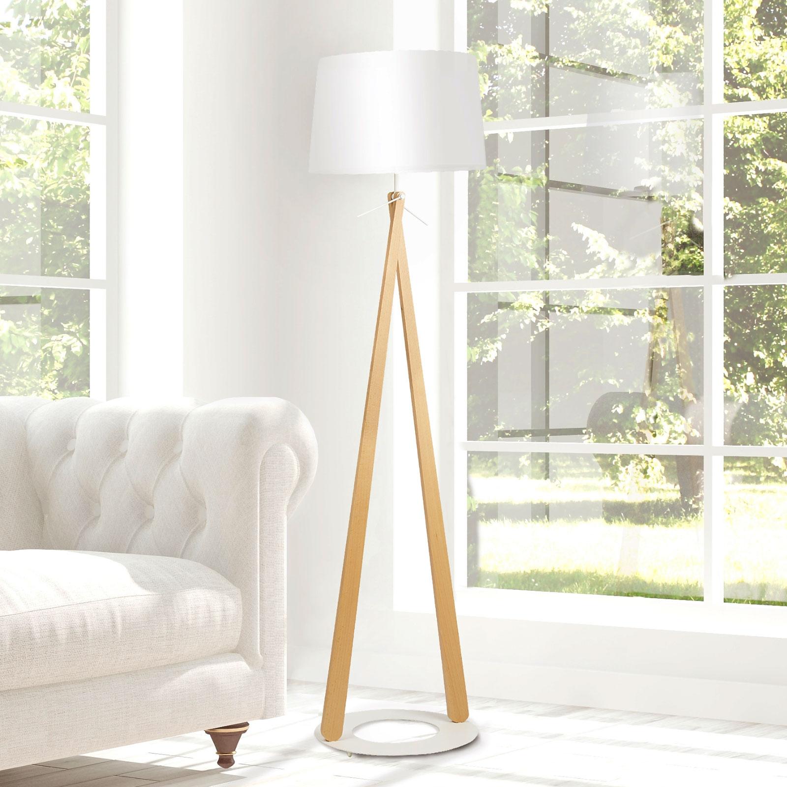Vloerlamp Zazou LS, textiel-kap, witte lamphouder