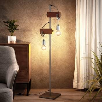 Lindby Asya vloerlamp, hout, chroom