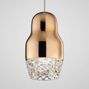 LED-hänglampa Fedora, en ljuskälla, roséguld