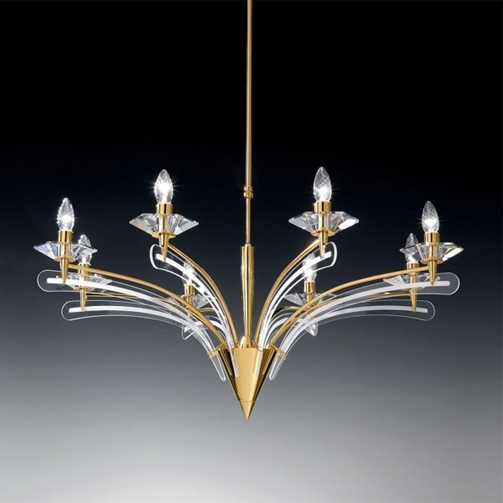 Żyrandol ICARO ze szkłem kryształowym, 8-p., złoty