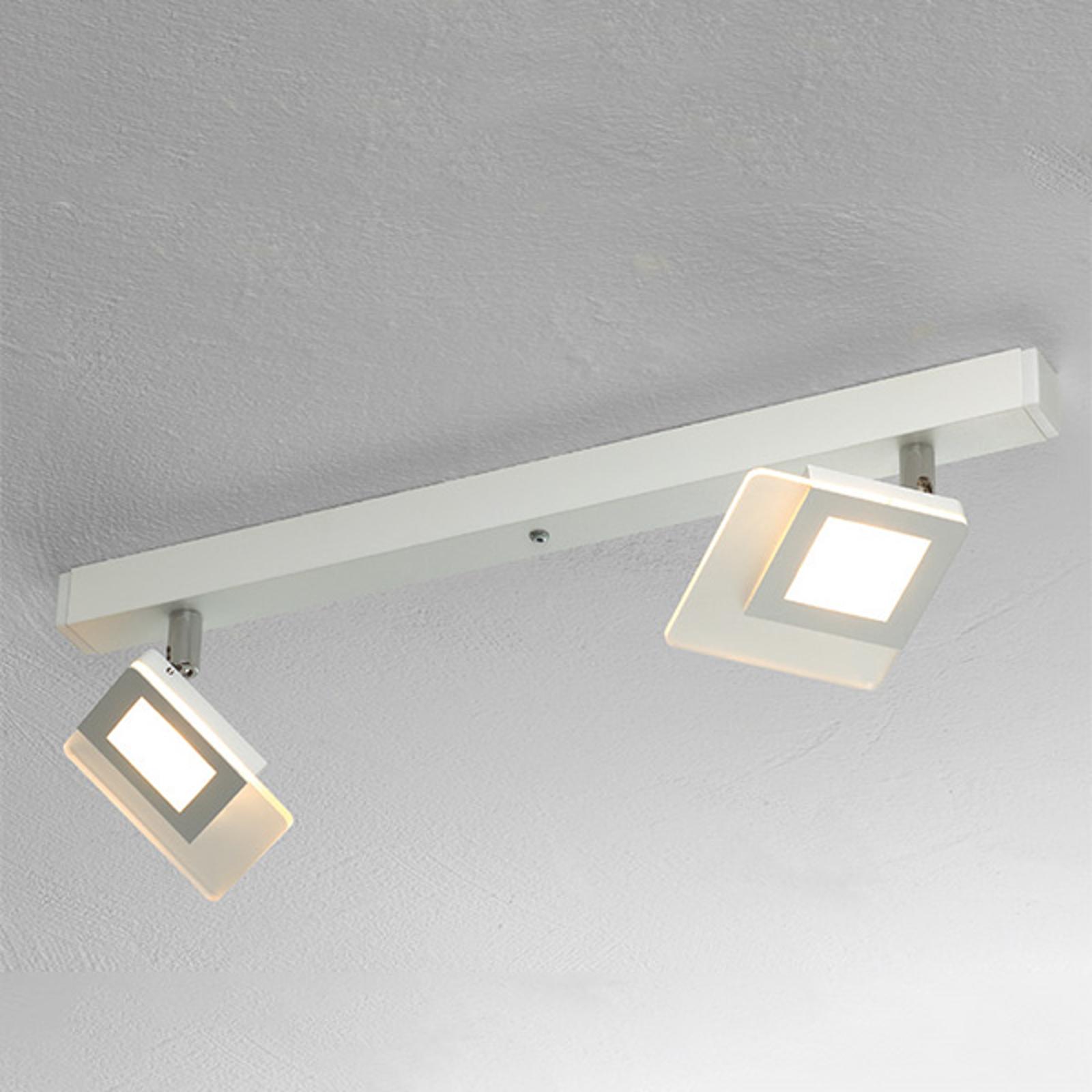 Beau plafonnier LED Line en blanc à deux lampes