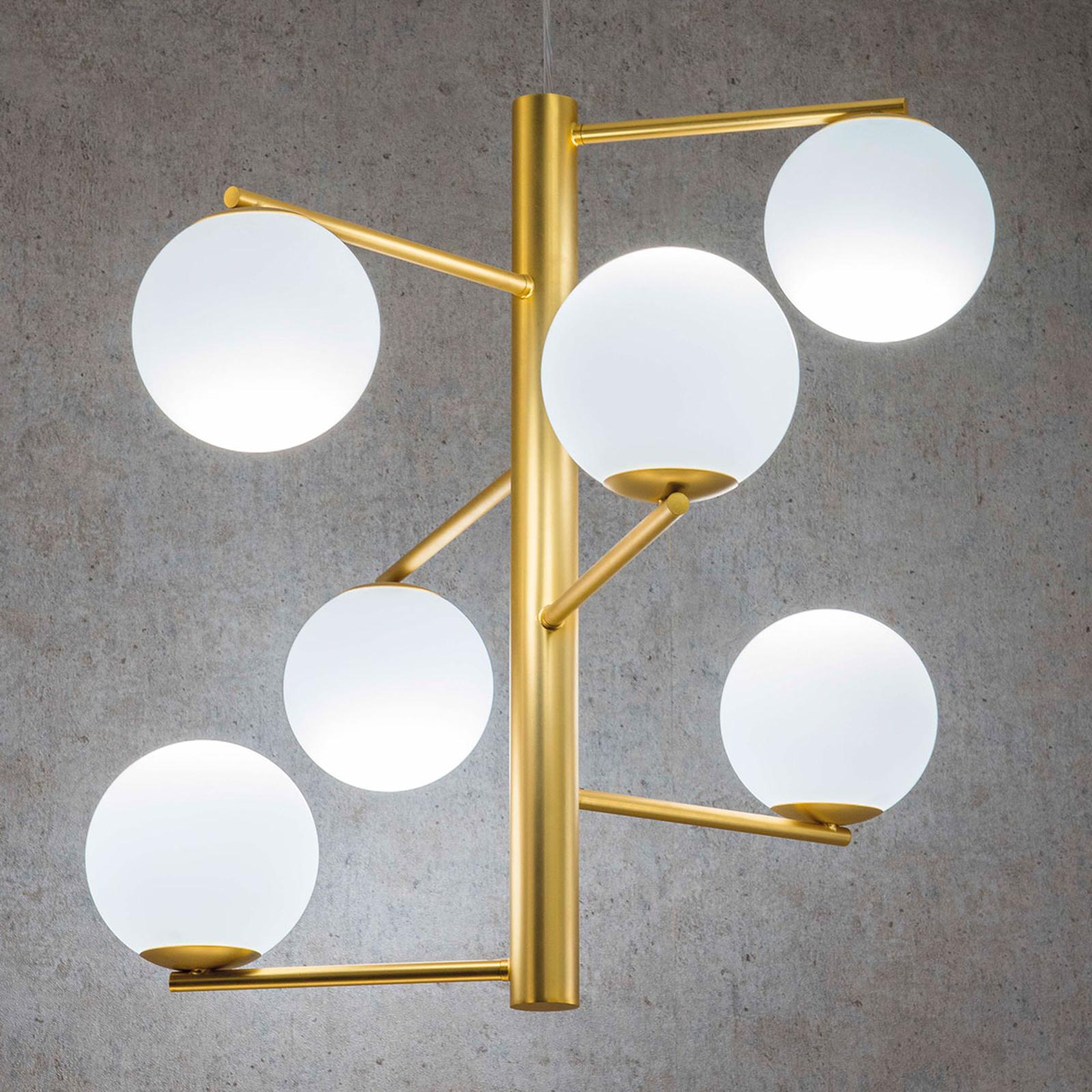 Tin Tin hengelampe 6 lyskilder satinert gull