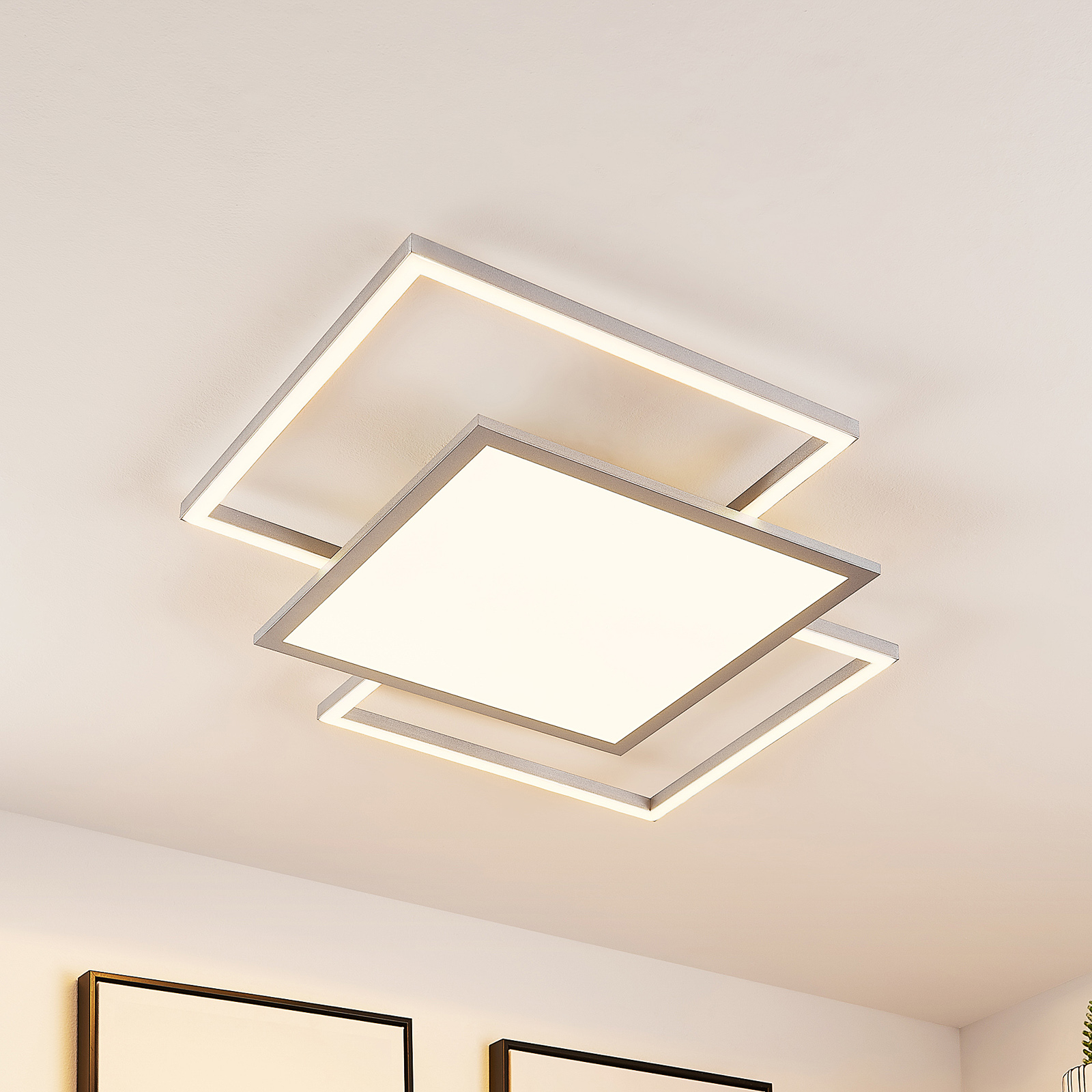 Lucande Ciaran LED-taklampe, kvadratisk, CCT