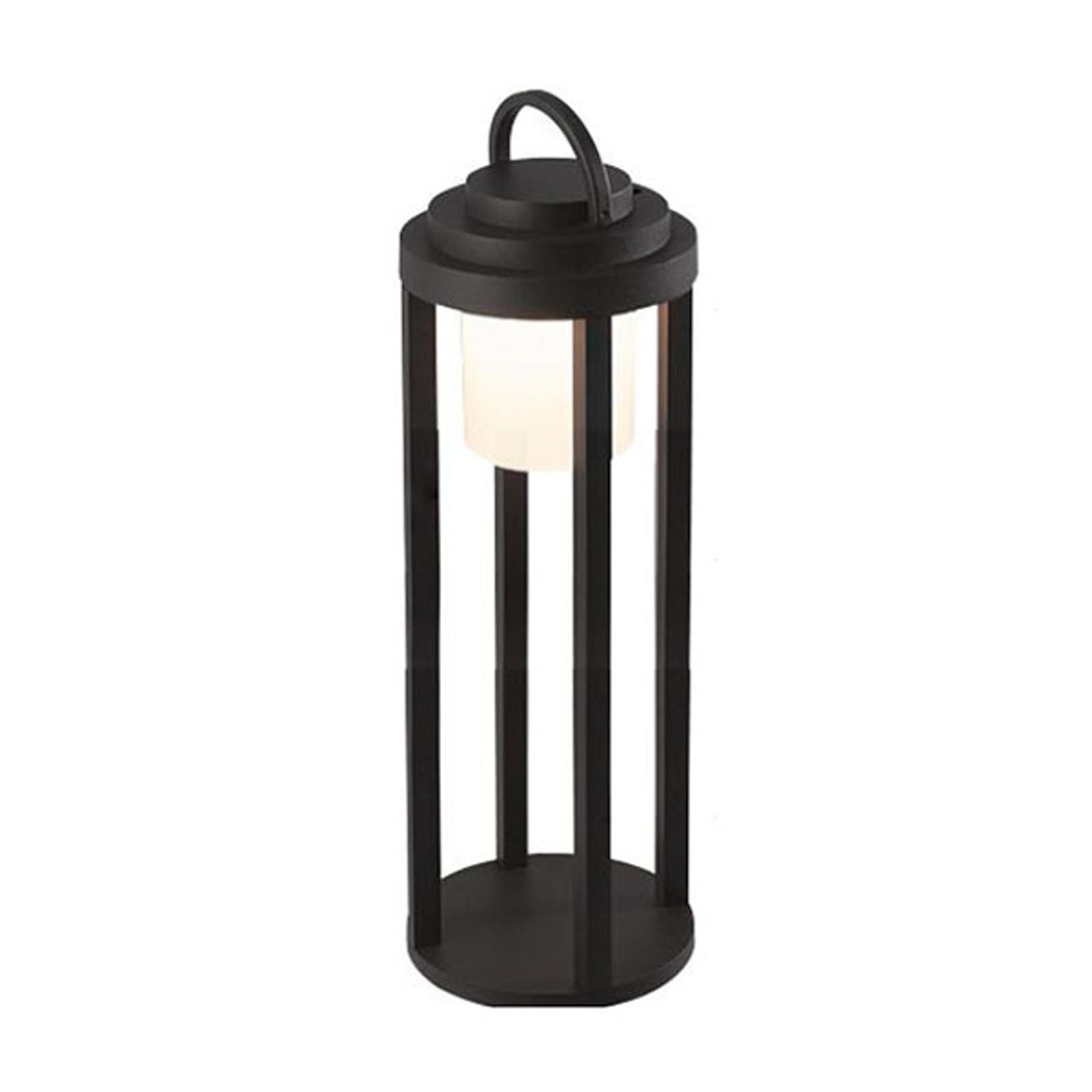 LED-batteri-utelampe Kalimnos, svart, 50 cm