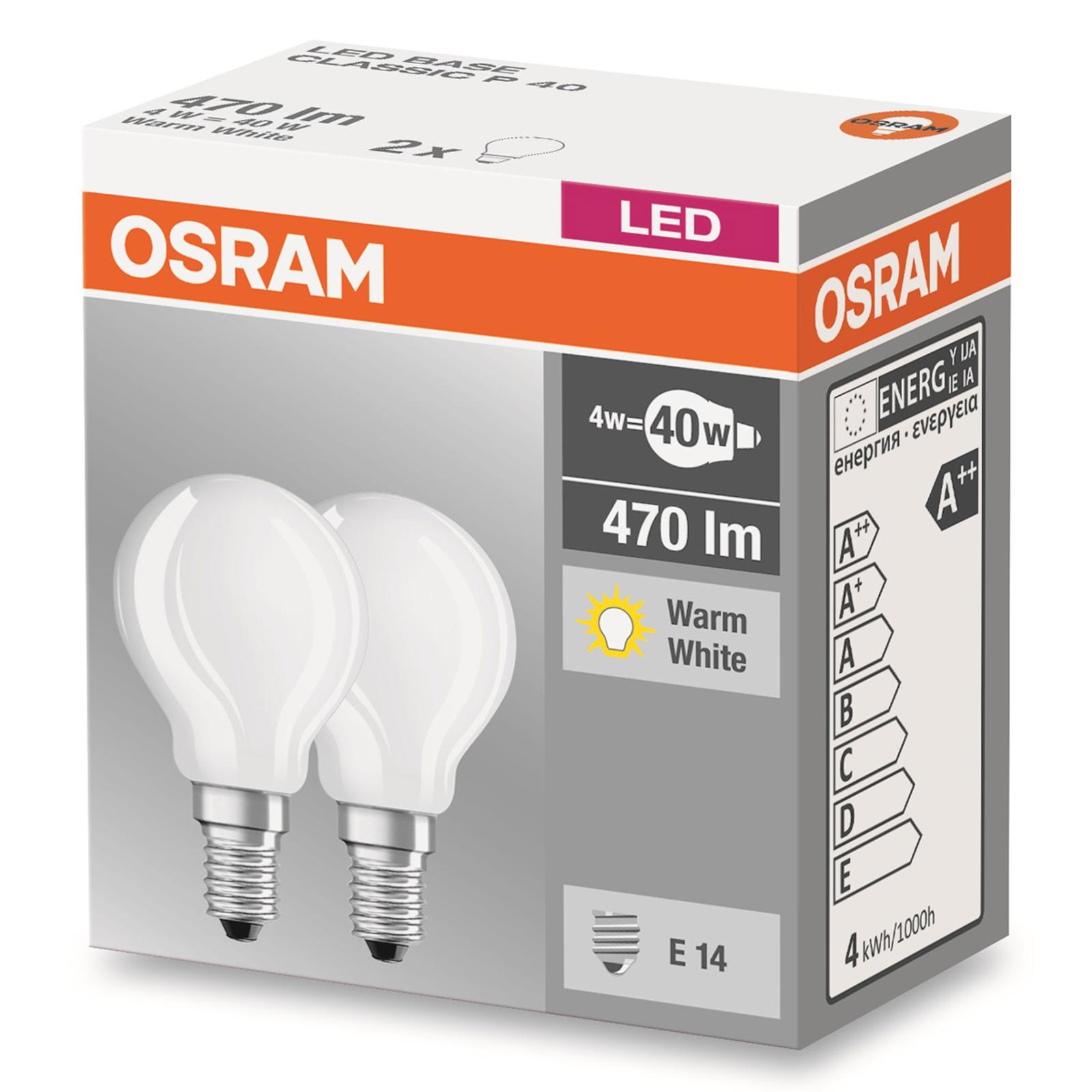 E14 4 W 827 LED-dråpepære matt, sett på 2