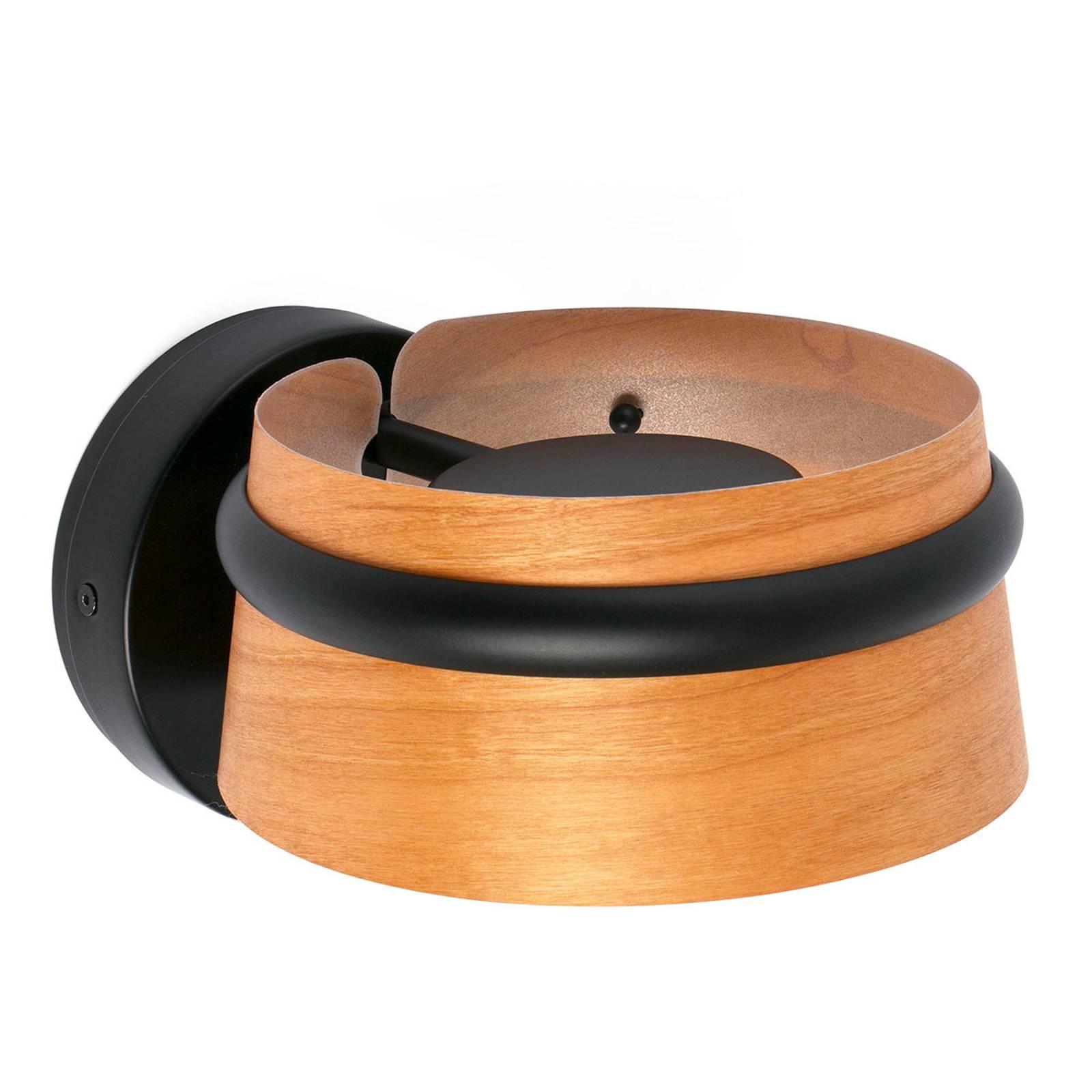 Houten wandlamp Loop met 3-stappen-touchdimmer