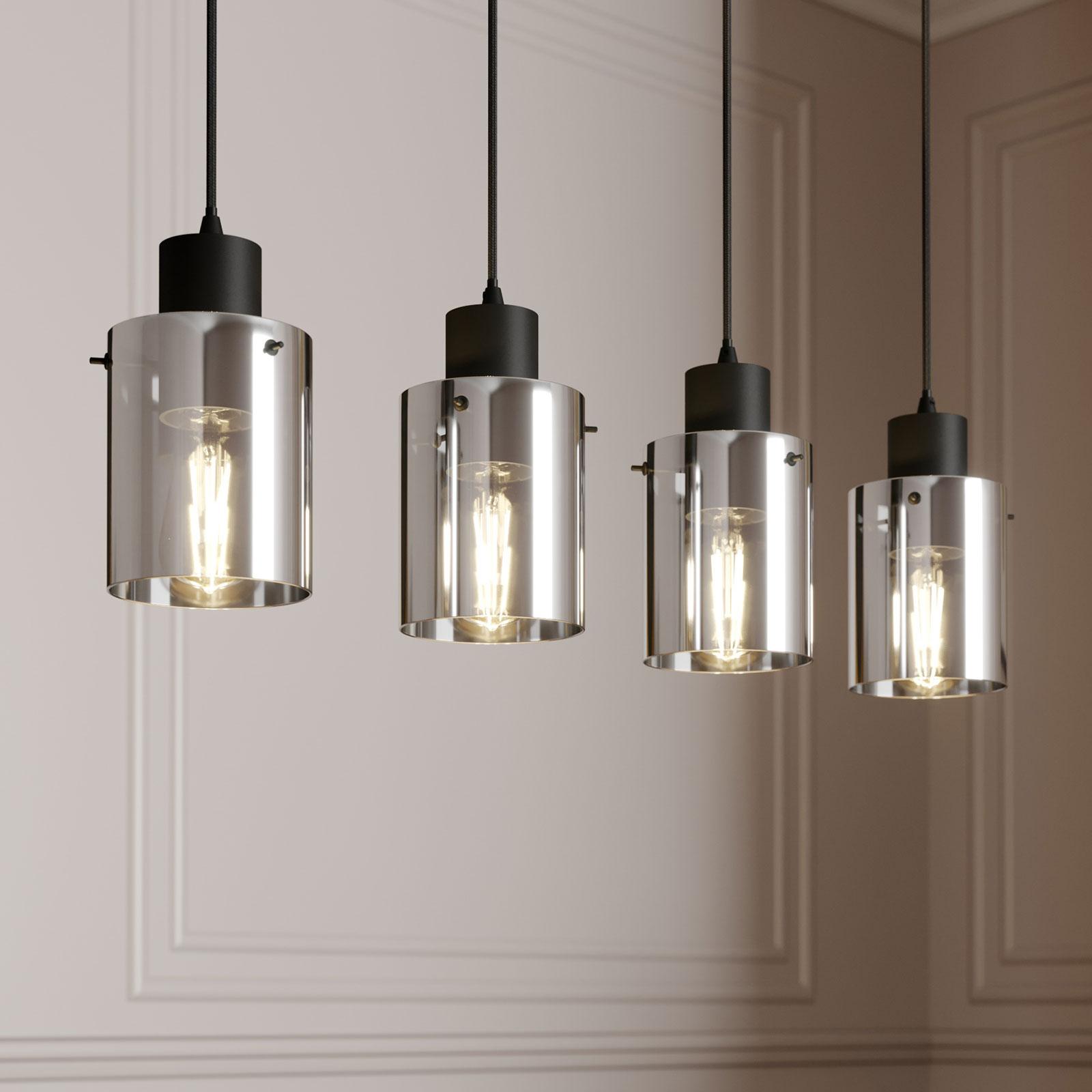 Lindby Kourtney hængelampe, glasskærm, 4 lyskilder