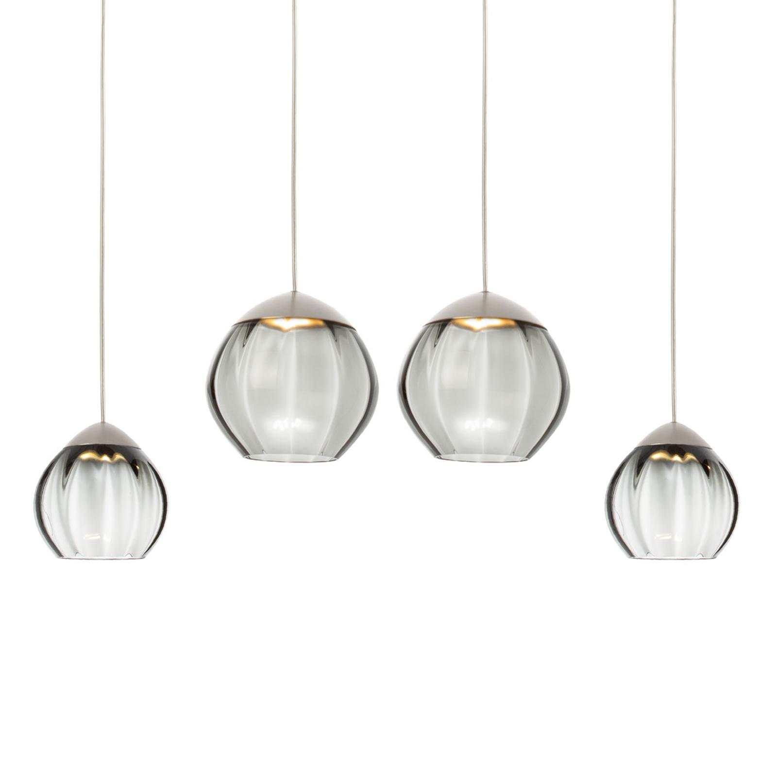 Suspension LED à 4 lampes Soft, verres noirs