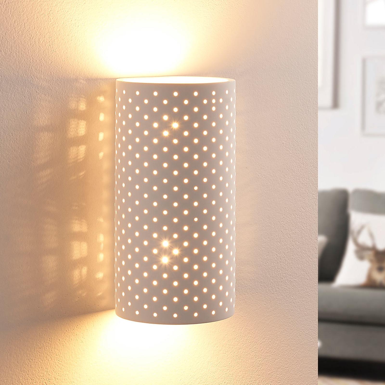 Vegglampe i gips Tereza med hullmønster, G9 LED
