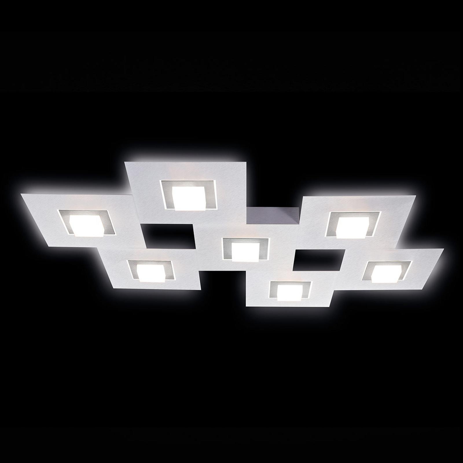 GROSSMANN Karree lampa sufitowa LED, 7-pkt. tytan