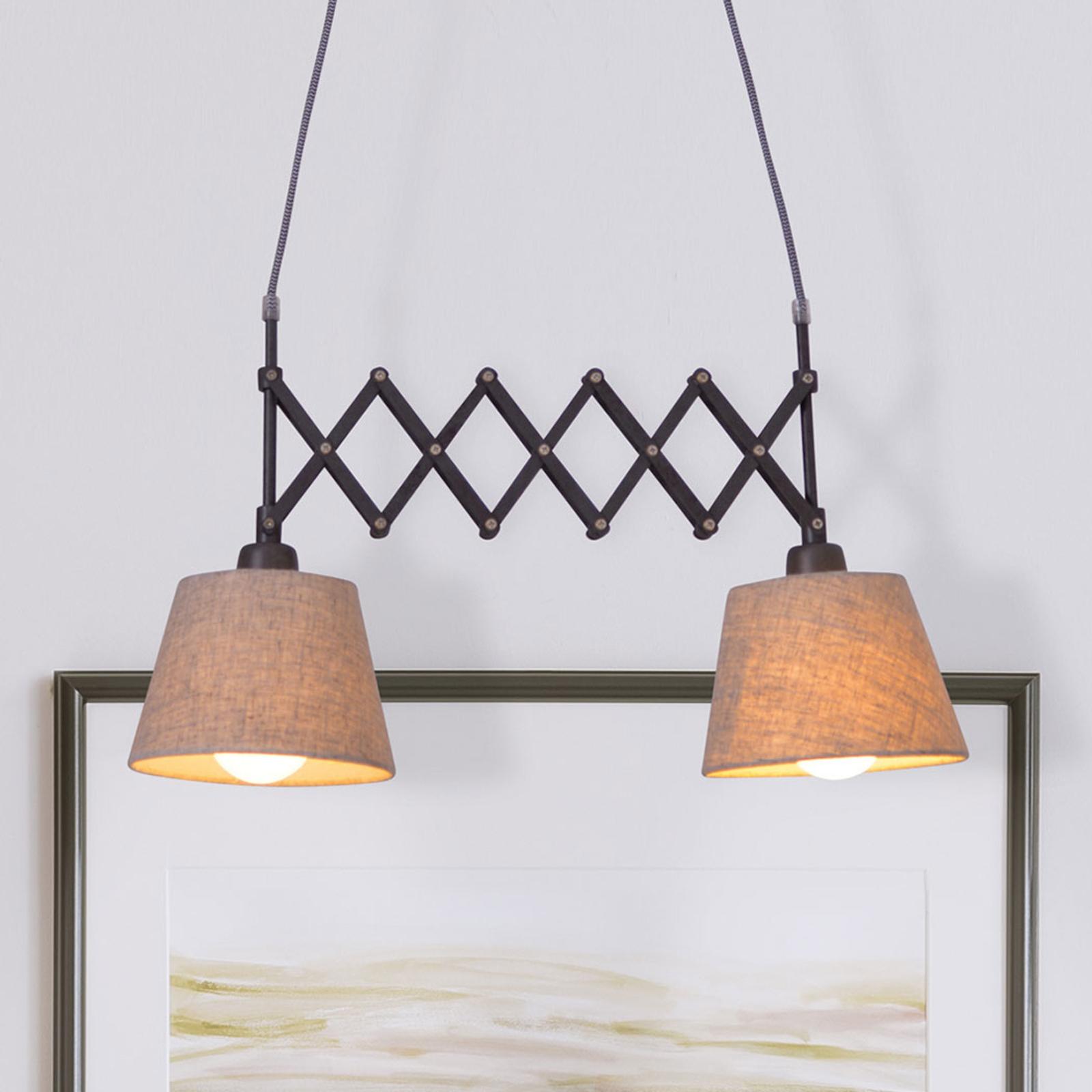Textiel-hanglamp Adrienne 2-lamps