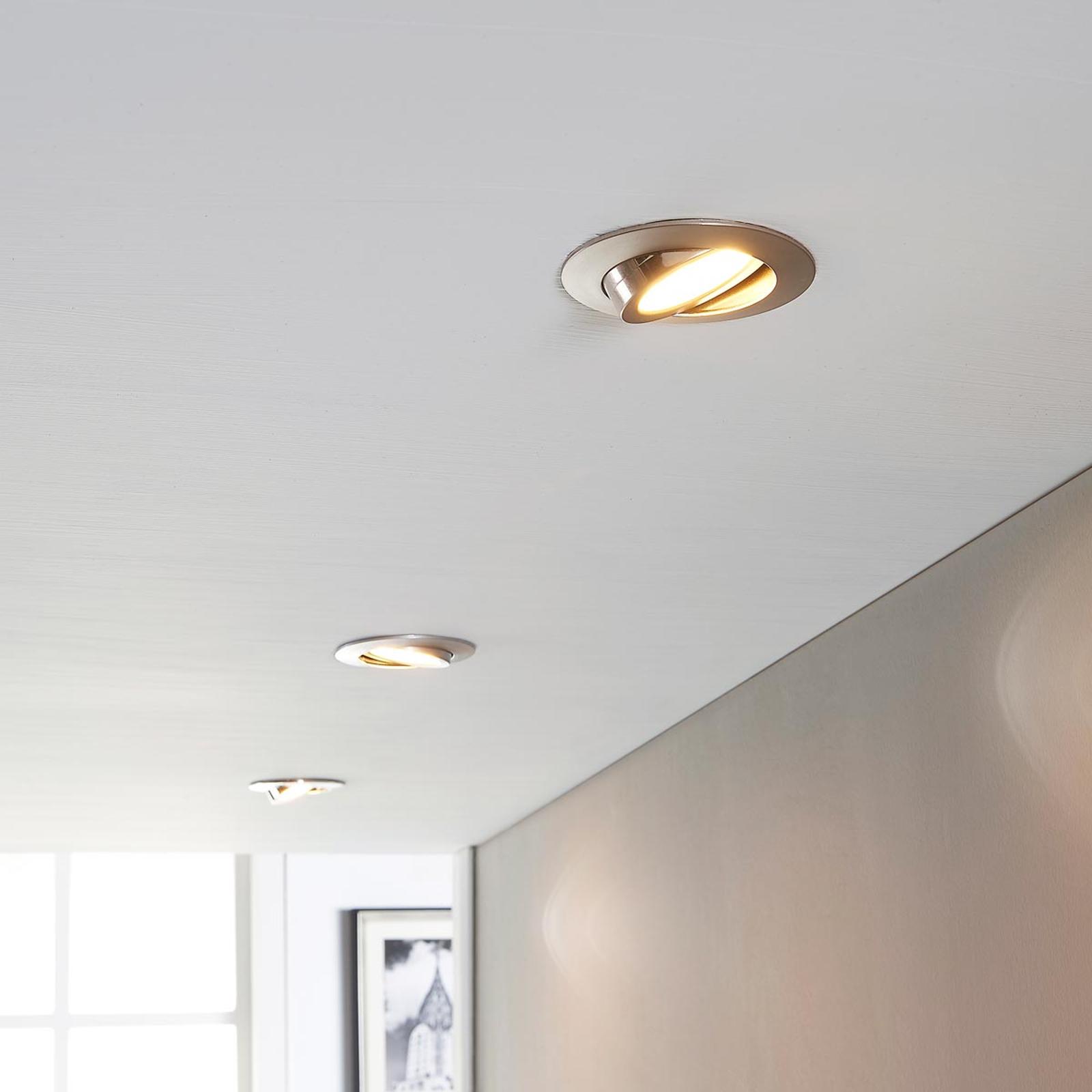 LED inbouwspot Andrej, rond, nikkel, set van 3