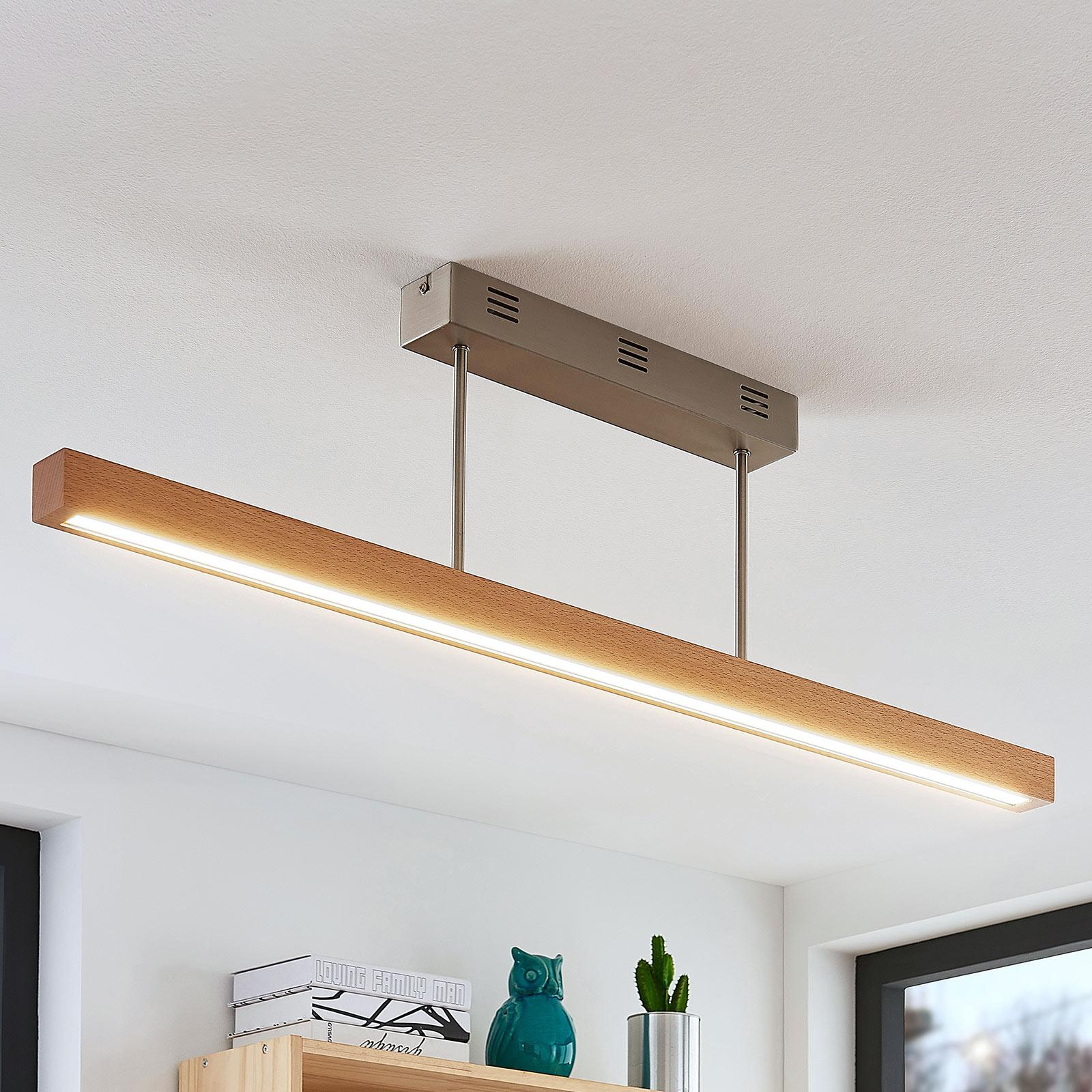 LED-pendellampe Tamlin, bjælkeform træ bøg, 100 cm