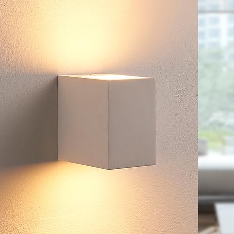 Hvit LED-vegglampe Jannes i gips