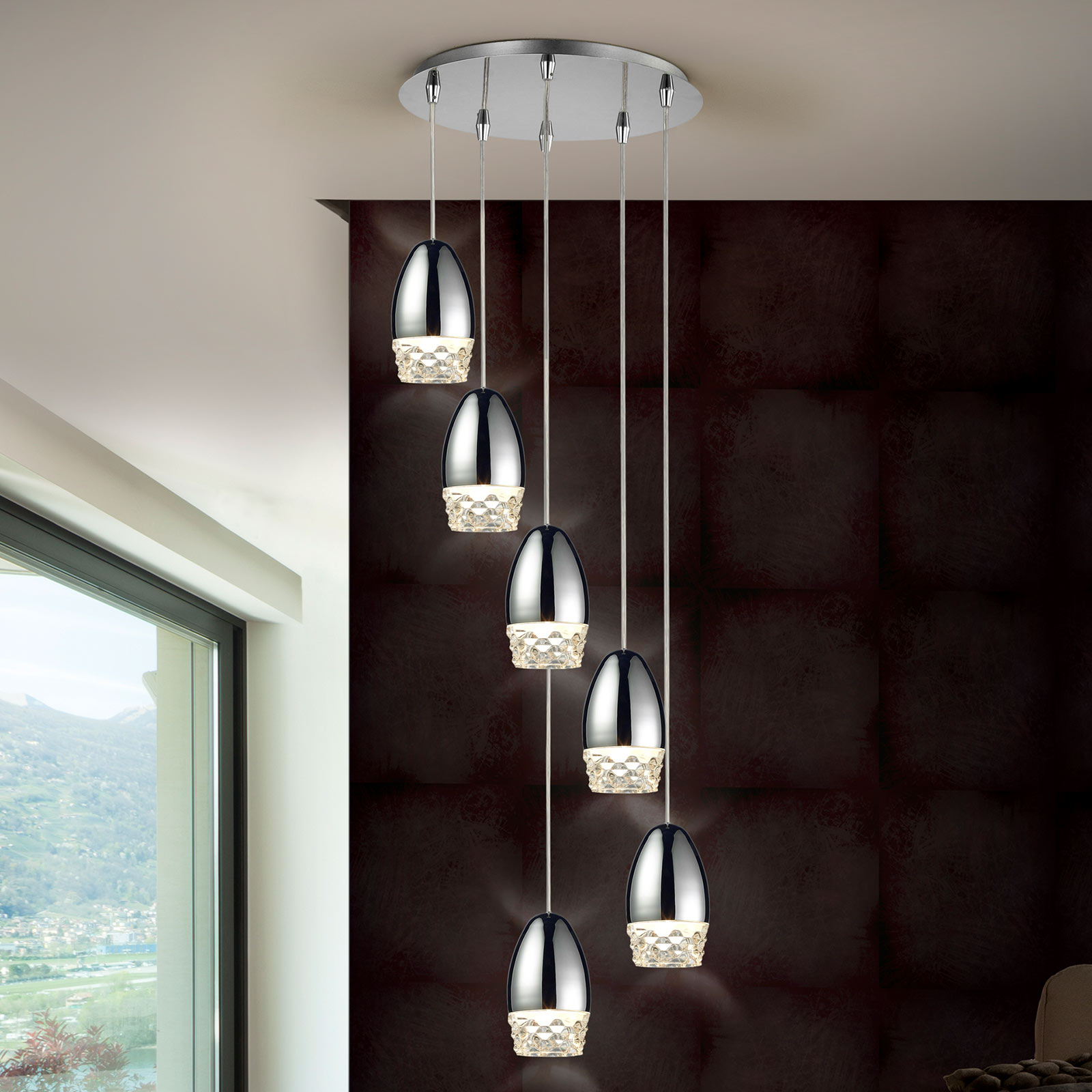 LED hanglamp Alessa, chroom, 6-lamps