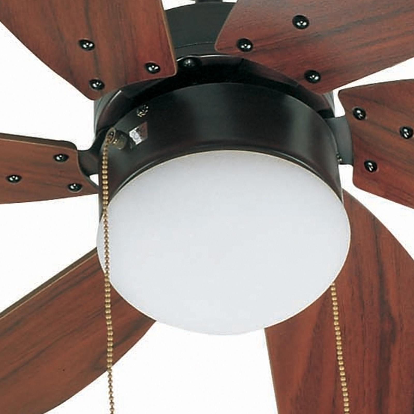 Stropní ventilátor Palao s osvětlením, hnědý