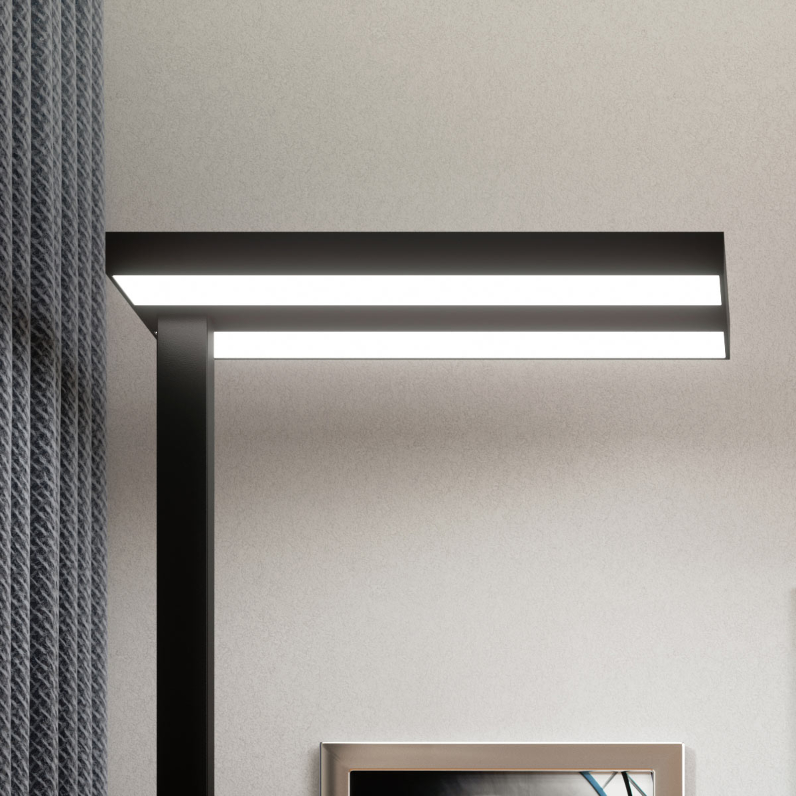 LED-Office-Stehlampe Logan in Schwarz, dimmbar