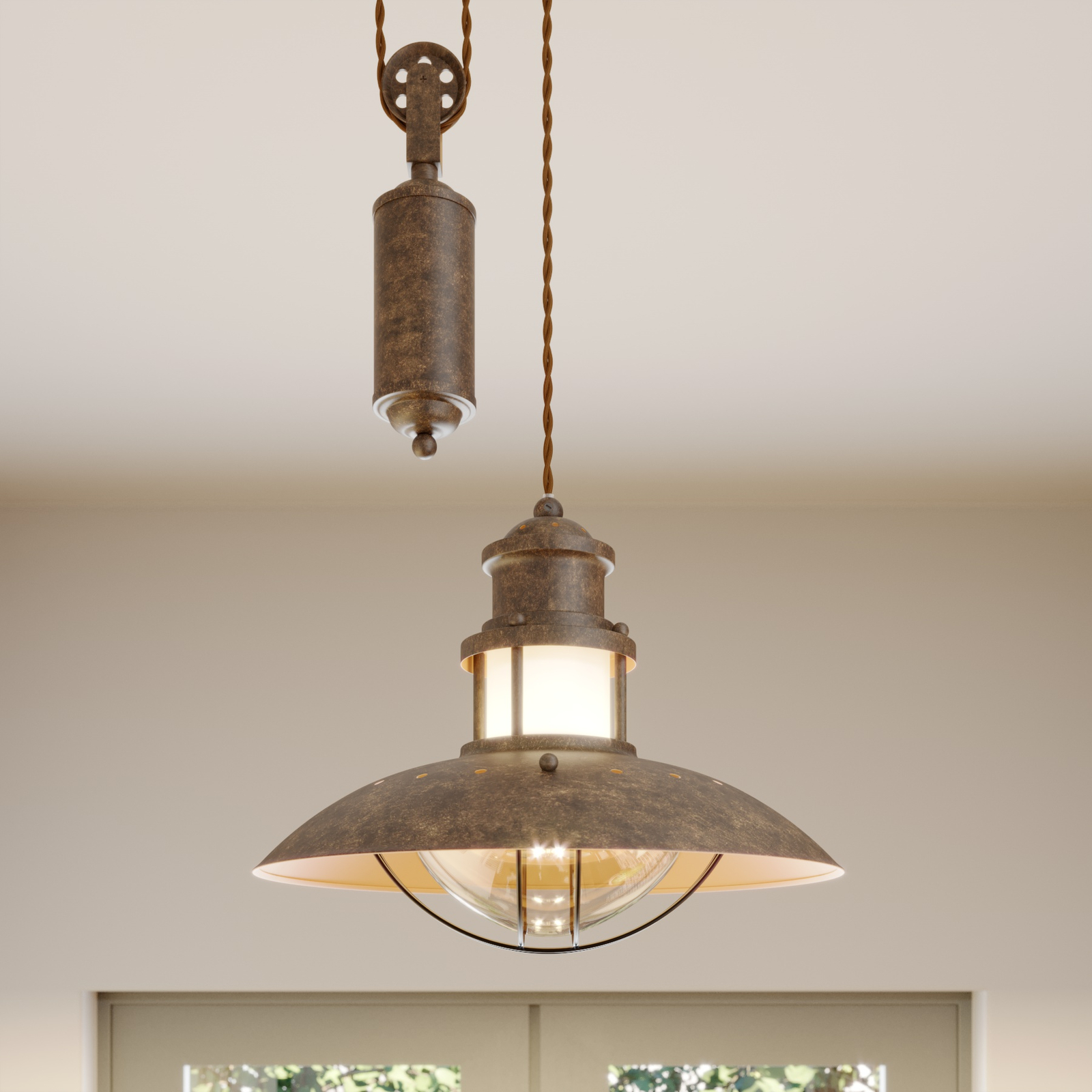 Louisanne højdejusterbar kabel-hængelampe
