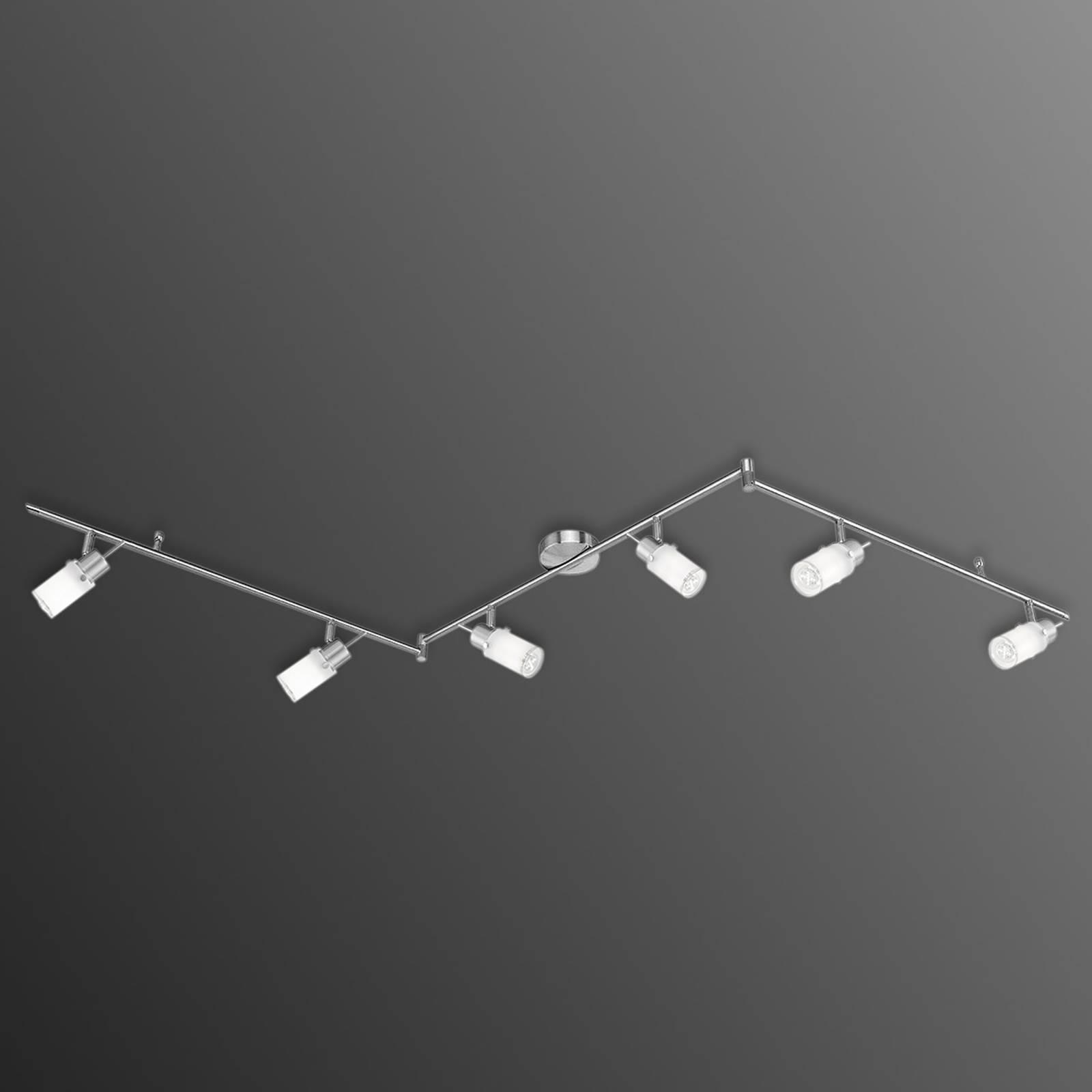 Driearmige LED plafondlamp Max met 6 lampen
