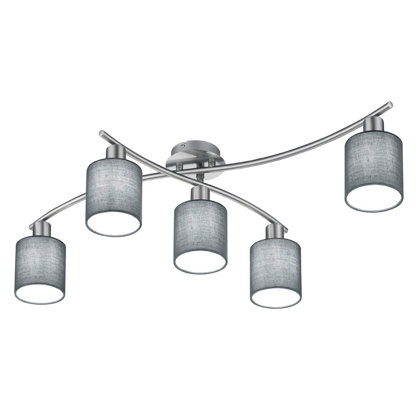 Plafonnier Garda à 5 lampes, abat-jour gris