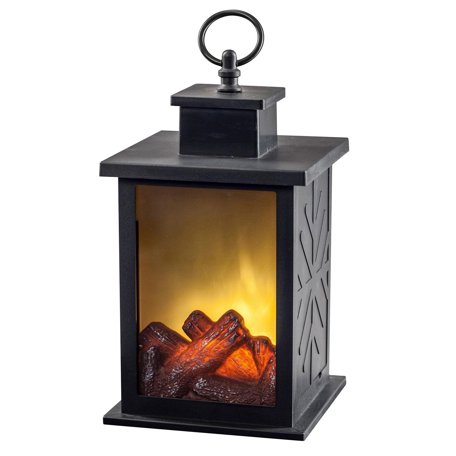 Lanterne cheminée LED effet flamme 14x14cm