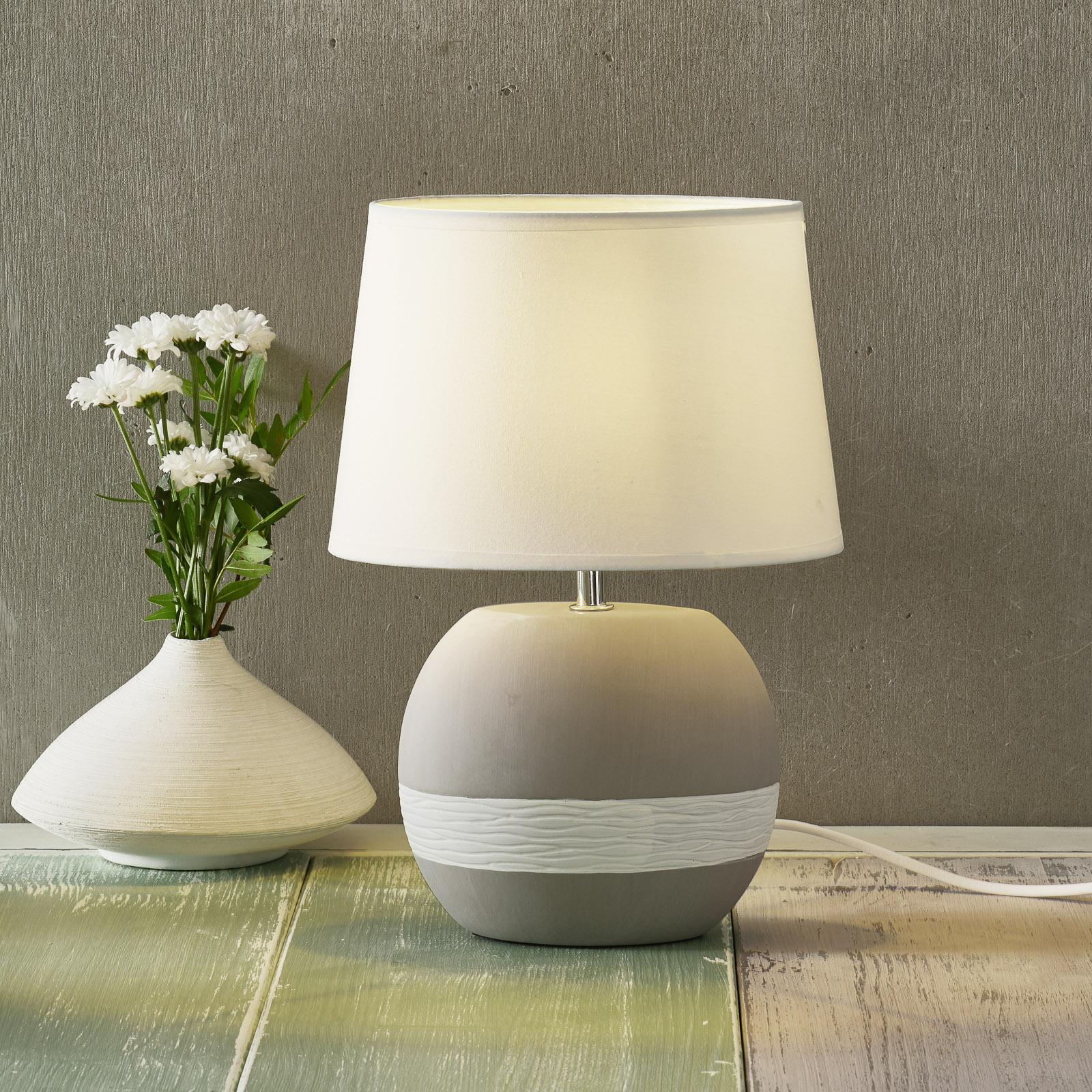 Lampada da tavolo Creto paralume tessuto bianco
