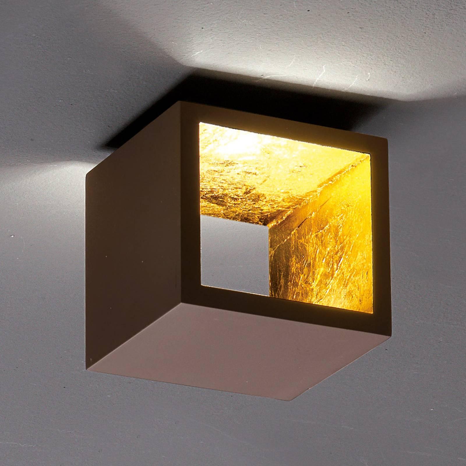 Dobbelsteen LED-plafondlamp Cubò, bruin, goud