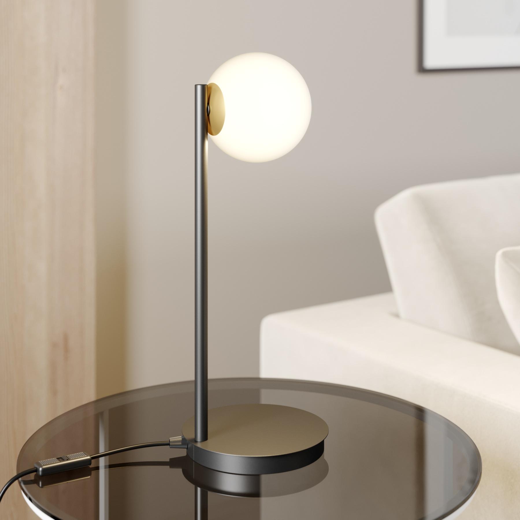 Tafellamp Gama in zwart met glasbol