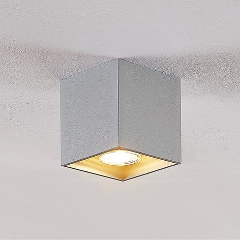 Lindby Parvin aluminium-downlight, kantig, grå